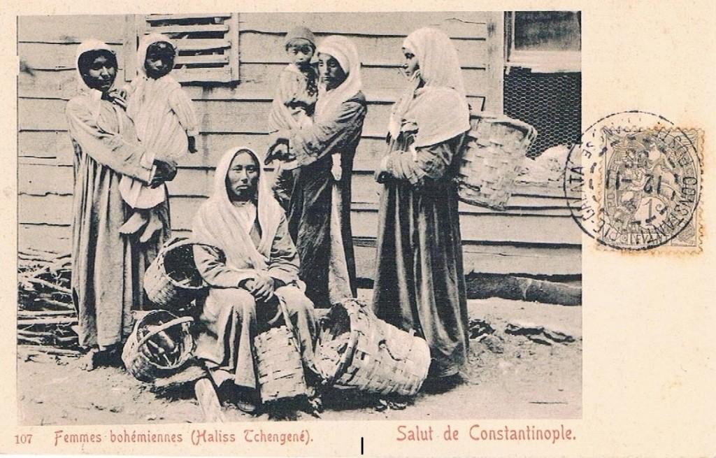 Cartolina postale: 1905Femmes bohémiennes (Haliss Echengené)Salut de Costantinople