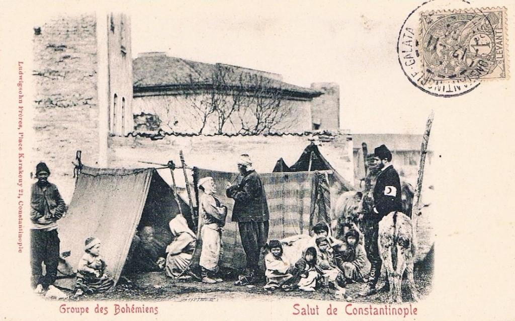 Cartolina postale: 1905 Groupe des Bohémiens Salut de Costantinople