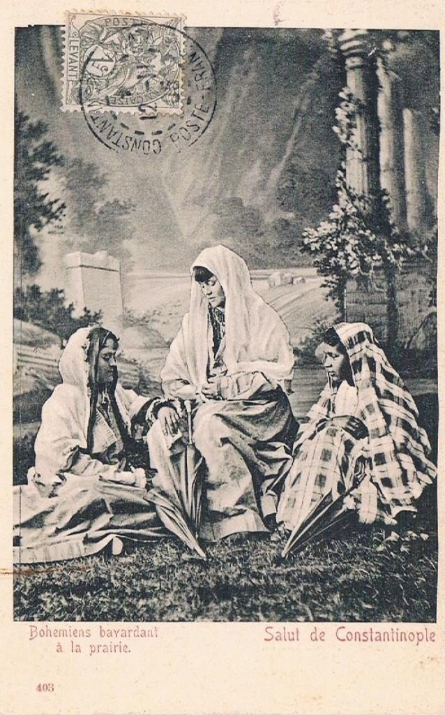 Cartolina postale: 1905 Bohemien bavardant à la prairie.Salut de Constantinople