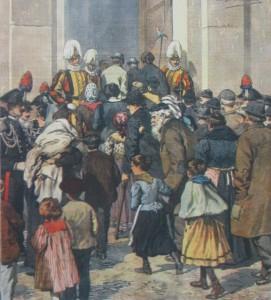 In Copertina, disegno di Achille Beltrame: un banchetto a mille poveri di Roma pel Giubileo di Leone XIII: I commensali entrano in Vaticano.