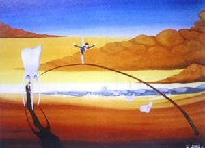 """Al Nitak: """"Dell'equilibrio giudizioso"""" olio su tela cm 60x50"""