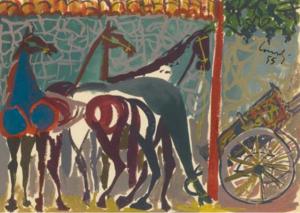 GIUSEPPE CONSOLI, Rivolta a Mascalucia del 3 agosto 1943, Barricata di cavalli, 1955