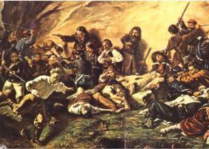 Una scena di rivoltosi siciliani contro i piemontesi