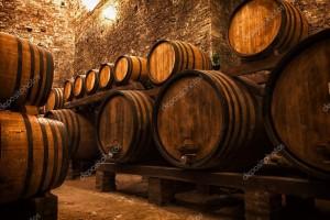 Un deposito di botti di vino