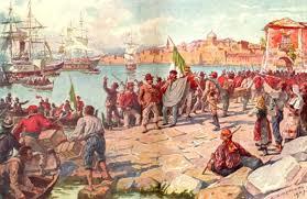 Giuseppe Garibaldi al suo arrivo a Marsala