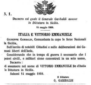 Il manifesto dell'editto di Garibaldi a Salemi