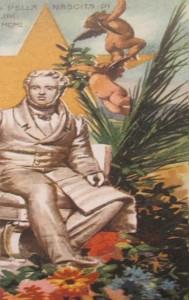 Vincenzo Bellini in una cartolina d'epoca disegnata dal pittore acese Saru Spina