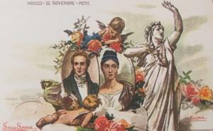 """Una cartolina d'epoca di Saru Spina riproducente Vincenzo Bellini, la cantante Giuditta Pasta e la statua dedicata alla """"Norma"""""""