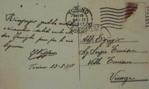 Cartolina con la firma autografa di F. Nazzaro